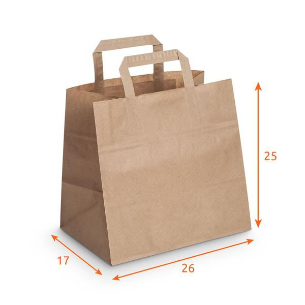 sac kraft pas cher avec poign es plates emballage snacking de packeos. Black Bedroom Furniture Sets. Home Design Ideas