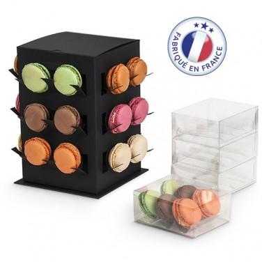 Présentoir Tour 24 Macarons + 4 boites transparentes (6 macarons)