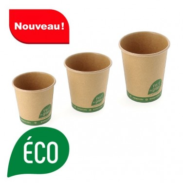Gobelet biodegradable en kraft brun